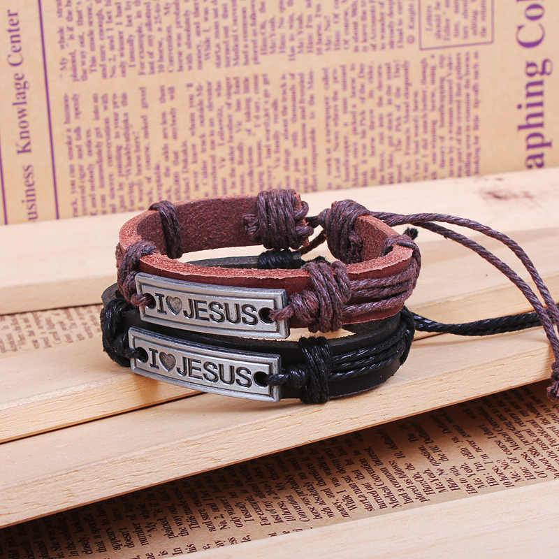 Pulseira Masculina 2018 Handmade Braided Leather Bracelets Bangles Jewelry Jesus Christianity Cowhide for Men And Women