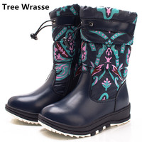 Tree Wrasse Boys Girls Snow Boots Winter New Fashion Children Knee High Martin Boots Kids Waterproof