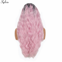 Sylvia Soft Loose Wave Pink Ombre Synthetic Lace Front Wig Heat Resistant Hair 1B Black To