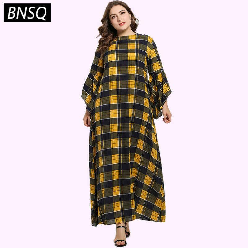 BNSQ Plaid Long Dress Asymmetry Cut Ruffles Sleeve Maxi ...