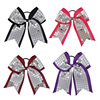 4PCS Mix 8 Baby Girl Big Cheerleading Hair Bows Bling Silver Sequin Plaid Cheer Bow With