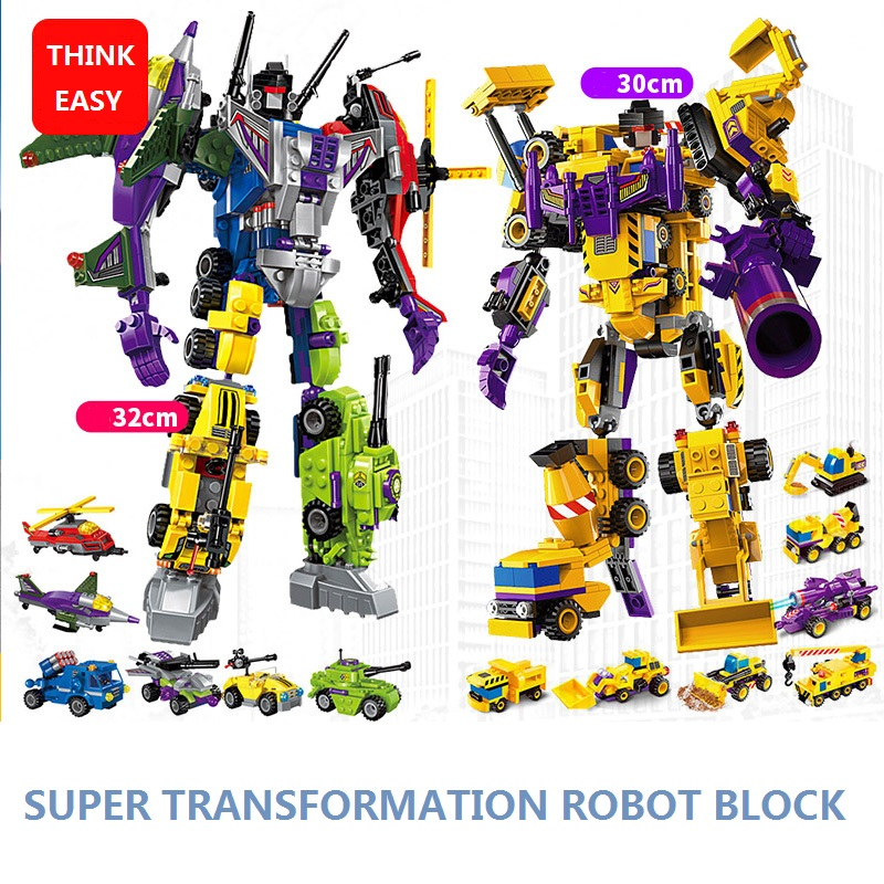 ThinkEasy 6 PCS/Set Puzzle Transformation Robot Cars Prime Bruticus Toy Action Figures Block Toys For Kids Birthday Gifts hot sale transformation devastator metal part kbb mp10 v optimus prime figure classic toys robot cars for kids christmas gifts