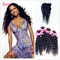 Queen Love Beauty 4pcs Brazilian Virgin Hair bundle With Closure Unprocess Deep curly Brazilian More Wave with Closure DHL Free