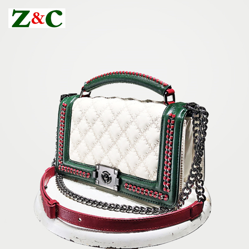 2018 New Fashion Panelled Womens Plaid Handbags Diamond Lattice Chain Crossbody Bag Women Leather Shoulder Messenger Bags White2018 New Fashion Panelled Womens Plaid Handbags Diamond Lattice Chain Crossbody Bag Women Leather Shoulder Messenger Bags White