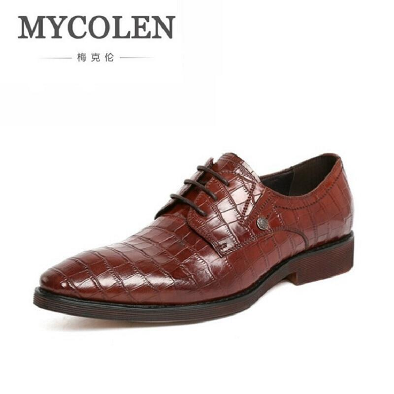 MYCOLEN Luxury Fashion Brand Formal Dress Shoes Men Genuine Leather Brogue Business Classic Office Mens Casual Italian shoes
