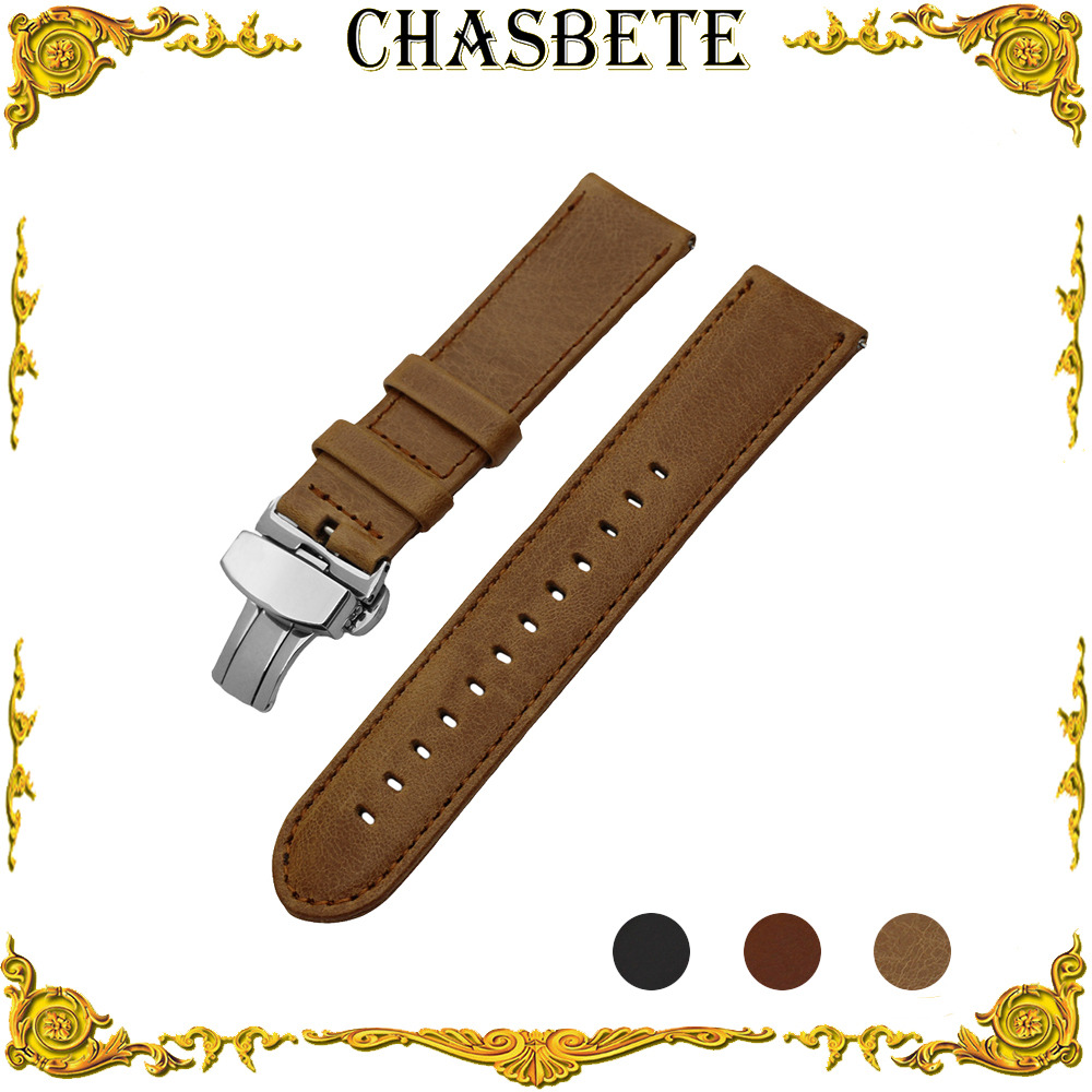 22mm Leather Watch Band for Zenith Paul Picot Moser Quick Release Strap Wrist Loop Belt Bracelet Black Brown Men Women + Pin quick release genuine leather watch band butterfly buckle strap for citizen men women wrist bracelet black brown 18mm 20mm 22mm