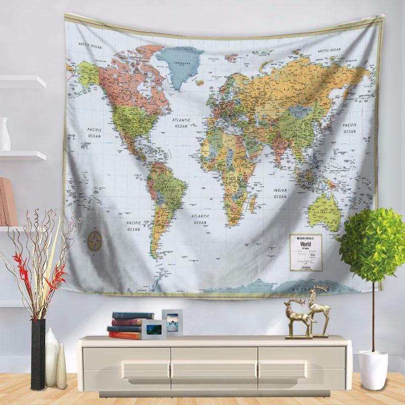 Mandala World Map Tapestry Printing Wall Hangings Cloth Tapestries Hangings Home Decor Mandala Beach Blanket Teli Da Parete