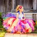 Caramelo dulce Arco Iris Flower Girl Dress Tutu para Cumpleaños de la Foto de La Boda Del Partido Del Festival de Halloween Niños de Disfraces TS052