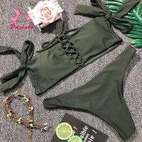 Pacento Womens Strapless Slit Bandeau Bikini Sets Padded Swimsuit 2 Pieces Black Front Tied Swimwear Women Sexy Bandage Beach