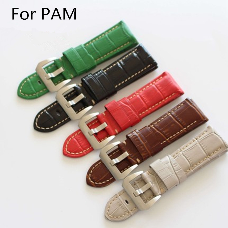 TJP High Quality genuine leather Watch Bands Strap 24mm 26mm Black Blue Green Brown Red Bamboo Grain For PAM And Big PIlot Watch hl 001 bamboo flute red brown 50cm