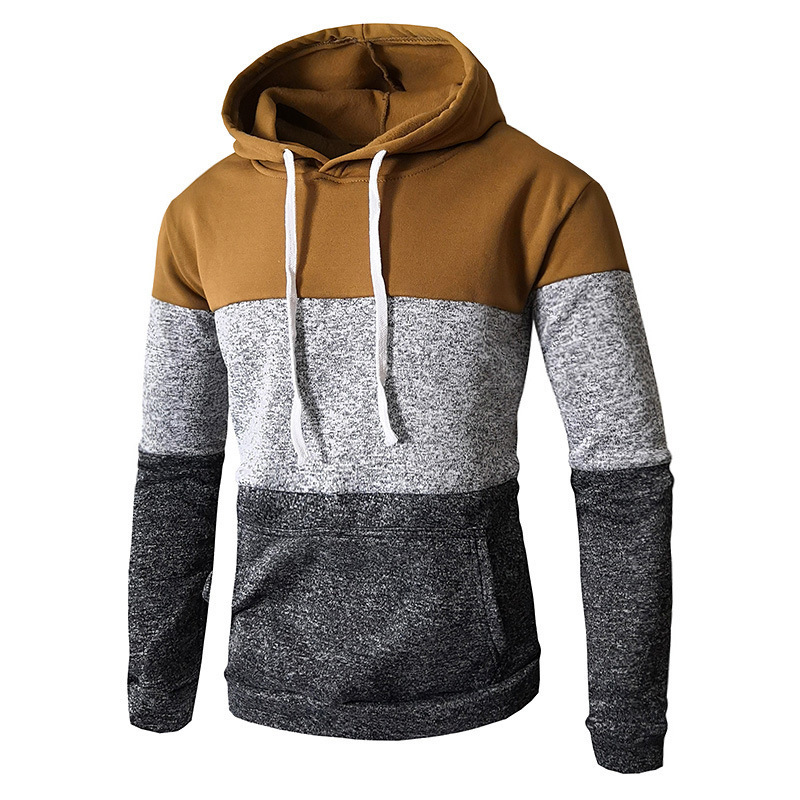 Autumn Winter New Mens Stitching Color Long Sleeve Hooded Pullover Hoodie Hoodies For Men Casual 6 colour