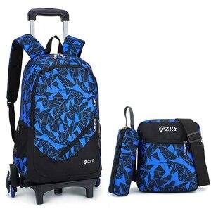 Image 1 - teens School Backpack Removable Children School Bags With 2/6 Wheels Stairs Kid boys girls Trolley Schoolbag Luggage Book Bag