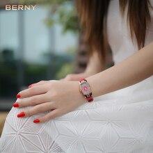 BERNY Famous Luxury Brand Watch Women Gold Role Quartz Clock Women's Dress Watches Waterproof Red Leather Ladies Wrist Watches