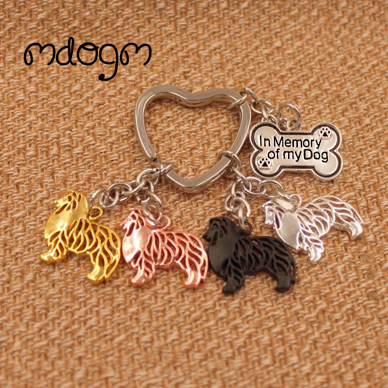 2019 Shetland Sheepdog Dog Animal Gold Silver Plated Metal Pendant Keychain For Bag Car Women Men Girls Boys Love Jewelry K093