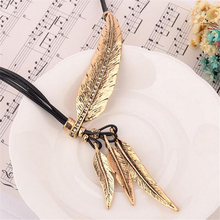 Collier Femme Feather Necklaces & Pendants Rope Leather Vintage Maxi Colar For Statement Necklace Women Fashion Jewelry Bijoux