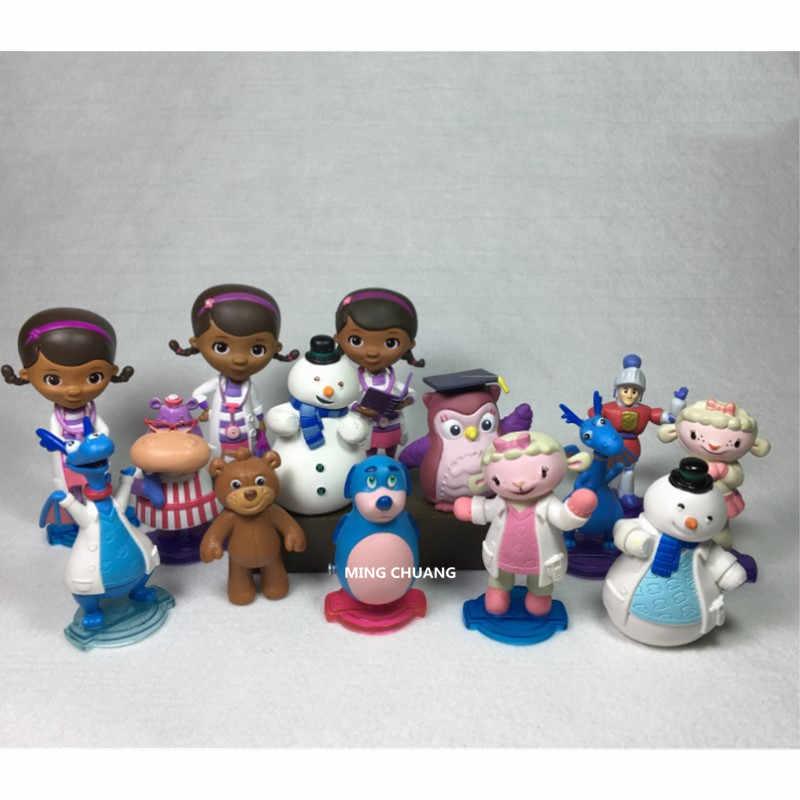 Mcstuffins Doc Check Up Time Boneco Dottie McStuffins Lambie Chilly Entupido Hallie Pouco Lótus PVC Action Figure Toy OPP J141