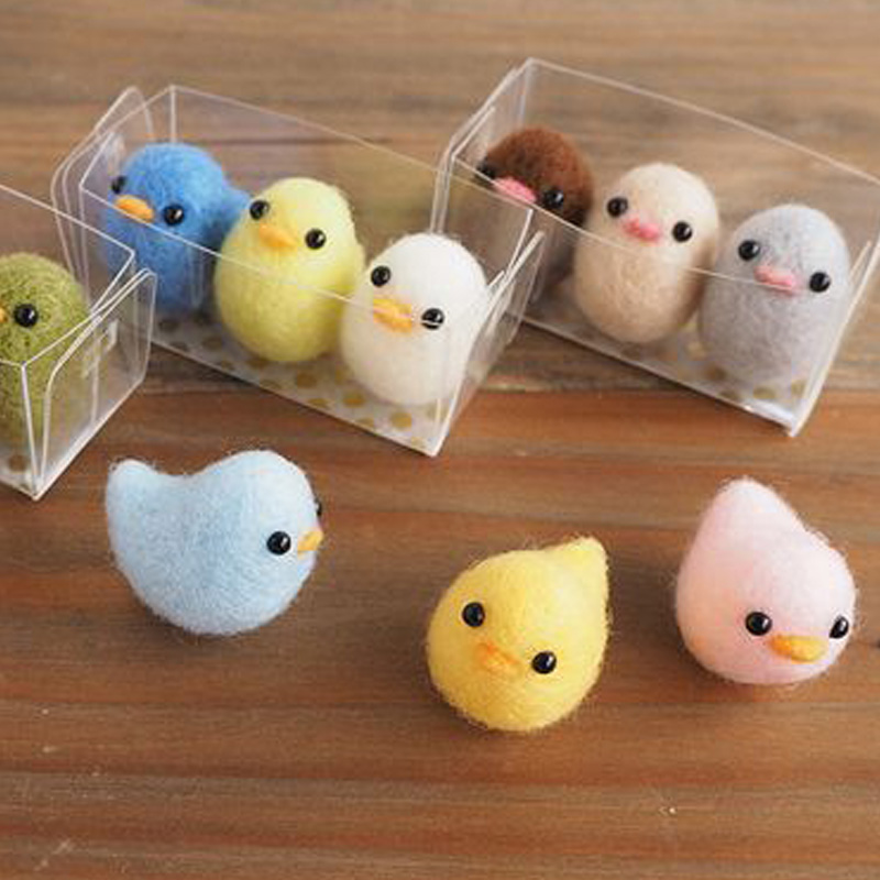 2019 Cartoon Cute Lovely 3 Pcs Chick Wool Needle Felting Toy Doll Wool Felt Poked Needle Kit DIY Package Non-Finished