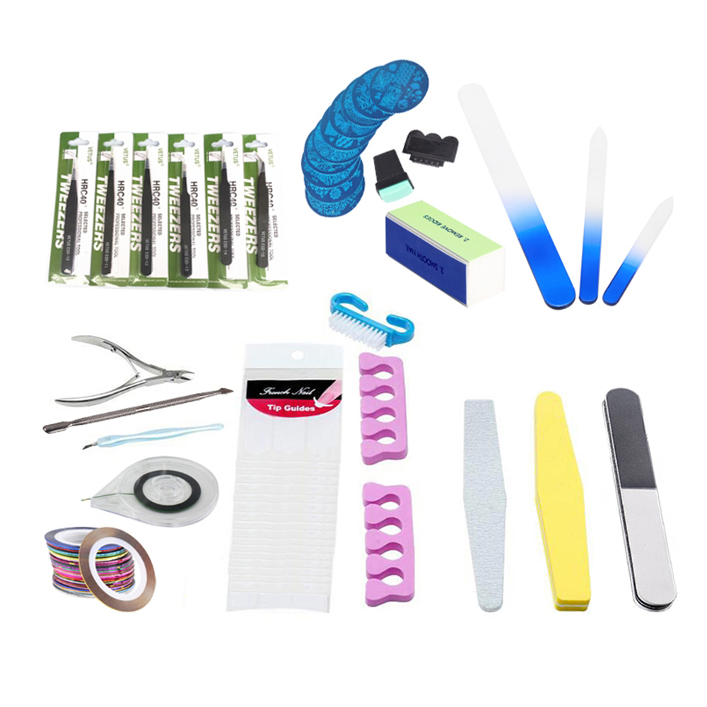 Stainless Steel Beauty Nail Professional Manicure Tools Kit Rectangular Nail Files Brush Nail Art Accessories Styling Tools