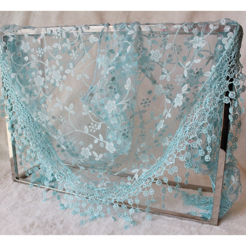 Women Lace Sheer Floral Triangle Veil Church Mantilla   Scarf   Shawl   Wrap   Tassel