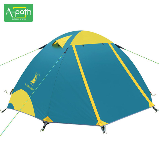 2 Person Outdoor Camping Waterproof Beach Folding Tent Tourist Double Layer Wigwam Awning Party Marquee 4 Season Winter Tents