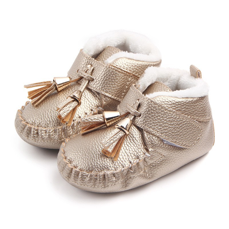 High Quality Winter New Tassel Baby Shoes About 0-1Y Newborn Shoes With Velvet Antiskid Shoe First Walkers