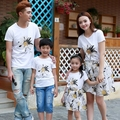 Free Shipping Summer Family Matching Outfits Floral short sleeve mother daughter Tops Skirt sets father son t shirts Casual