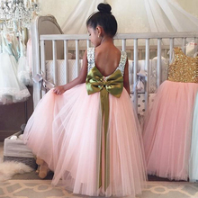 Cute Sequins Flower Girl Dresses Shiny Sequins With Big Bow Tulle Ball Gowns For Kids Pageant Dresses For Little Girls