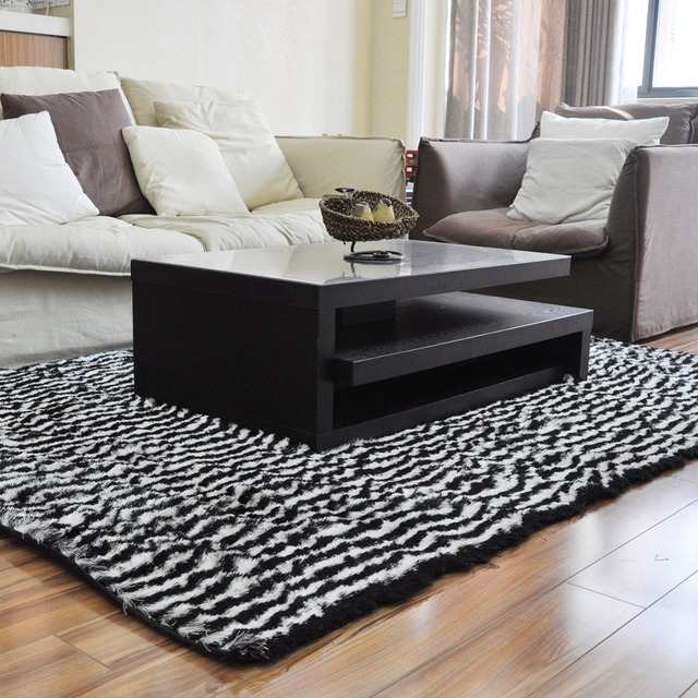 Zebra Rug Black and white stripe zebra living room carpet bedroom ...