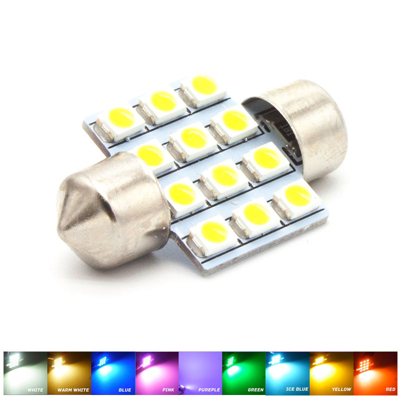 31MM 12 SMD 3528 LED White Warm Green Blue Pink Red Purple Iceblue Yellow Light Dome Map Door Festoon 3022 Bulb DC 12V 1pcs 36mm 6 smd 5050 crystal blue pink yellow green red purple led light festoon door led bulb dc 12v