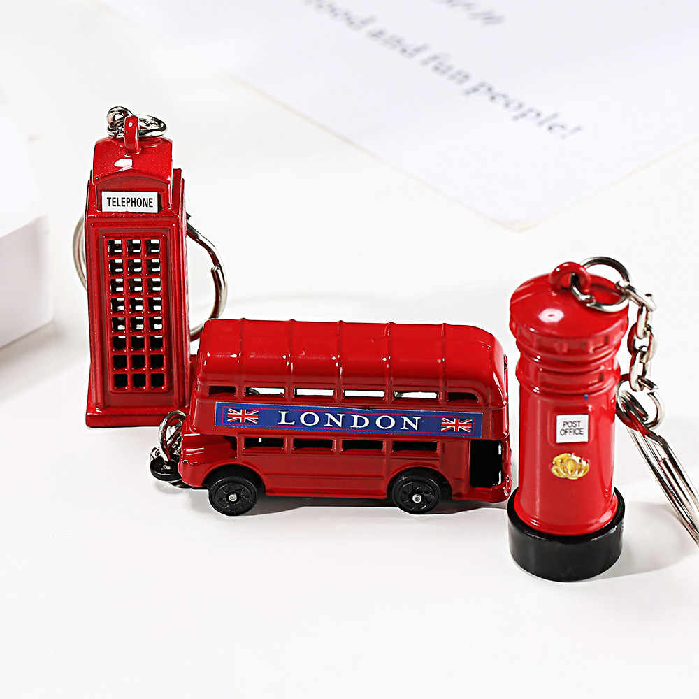 London Classic Souvenir Key Chains Street Mailbox Telephone Booth Bus Creatinve Funny Charm Key chains fine jewelry for car door