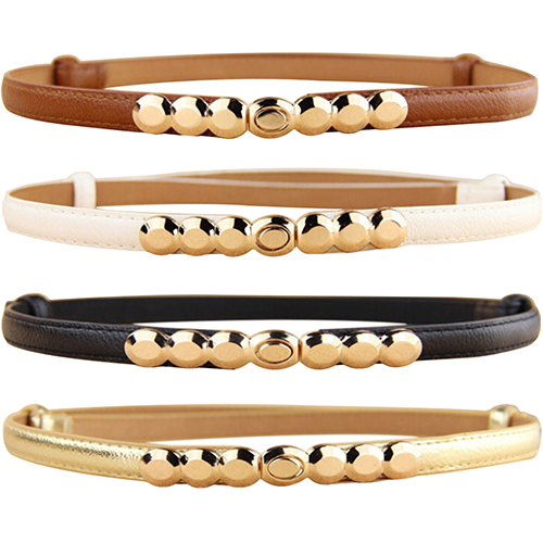 Women Faux Leather   Belt   Gold Tone Alloy Buckle Thin Girdle Waistband Adjustable 9TOV