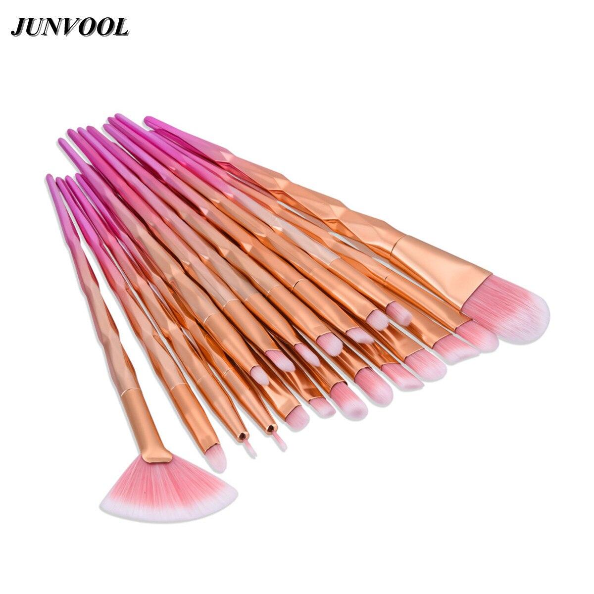 20Pcs Pink Makeup Eyes Brushes Set with Diamond Thread Handle Gold Rose Tools Powder Foundation Eye Lip Concealer Fan Brush Kit