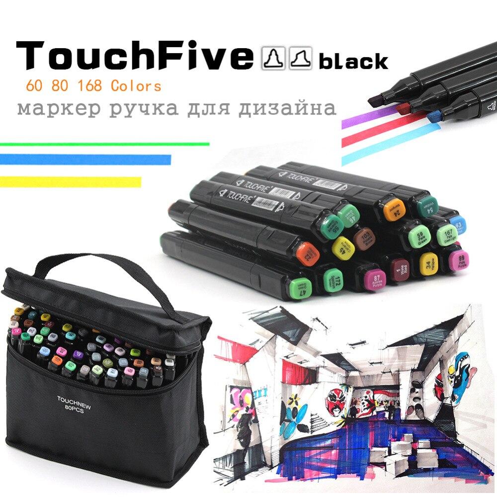 TouchFive черный корпус 60/80/168 Цвета графический маркер ручка двухсторонняя художник постоянный эскиз Manga фломастеров для искусство рисования