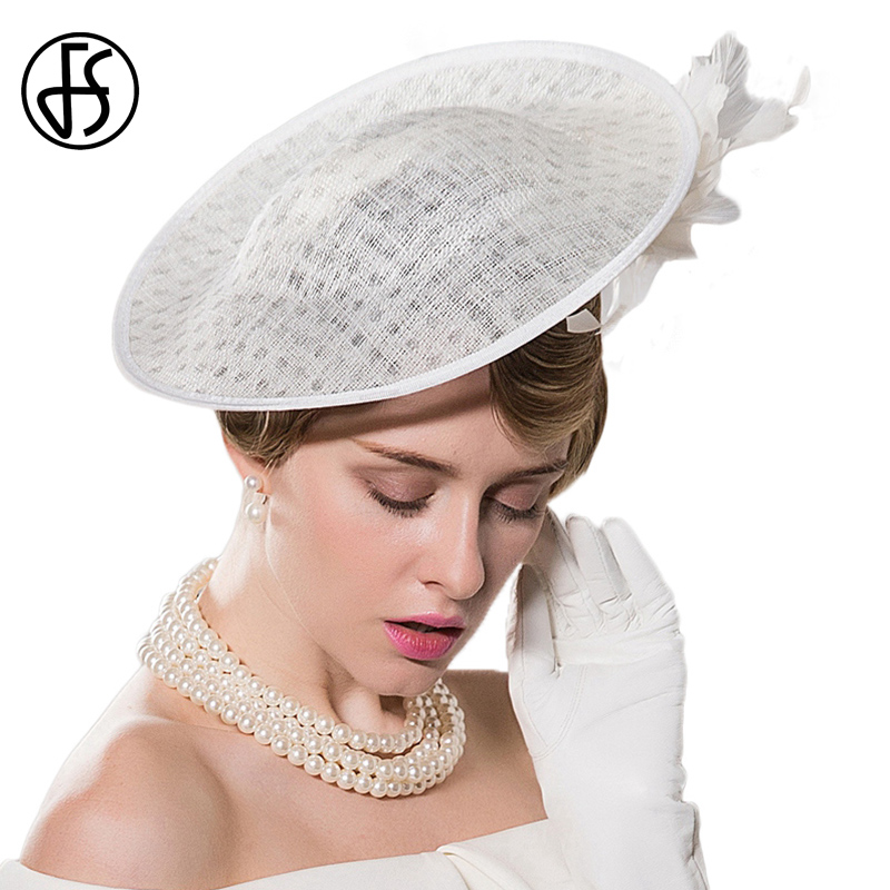 FS Fascinators Ladies Hats For Weddings White Feather Pillbox Hat With Veil Women Dress Church Sinamay