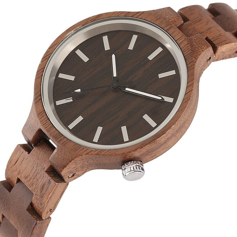 Creative Handmade Full Wooden Watches Women Round Slim Simply Dial Quartz Wood Watch Ladies Natural Fashion Timepieces