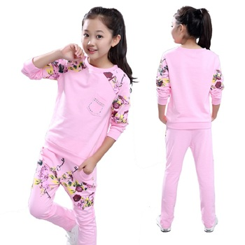 Girls Sports Suits Clothing Sets For 5 6  8 10 12 14 Year Girl print Tracksuits Costume Cotton Spring &Autumn Sportswear Outfits christmas girls sports suits fashion toddler girl clothing sets 2017 spring autumn lace coat outfit clothes size 4 6 12 14 year