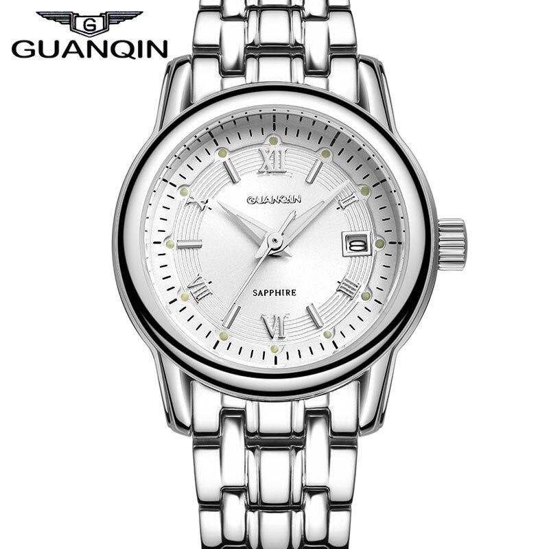 Мода горный хрусталь женское платье часы Полный нержавеющая сталь Сапфир водостойкий календарь кварцевые Бизнес наручные часы 2014 новый