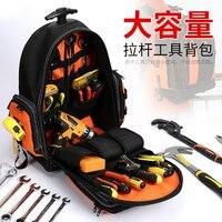 Tool Backpack Electrician repair storage Organizer Bag 1680D Waterproof Tool Bags Multifunction knapsack Tool Holder with Trolle