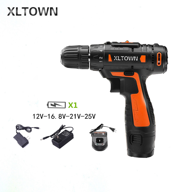 XLTOWN 12/16.8/21/25V Cordless Drill Rechargeable Lithium Battery Multifunction Electric Screwdriver Household power tools xltown 21v electric screwdriver multifunction rechargeable lithium drill electric household cordless electric drill power tools