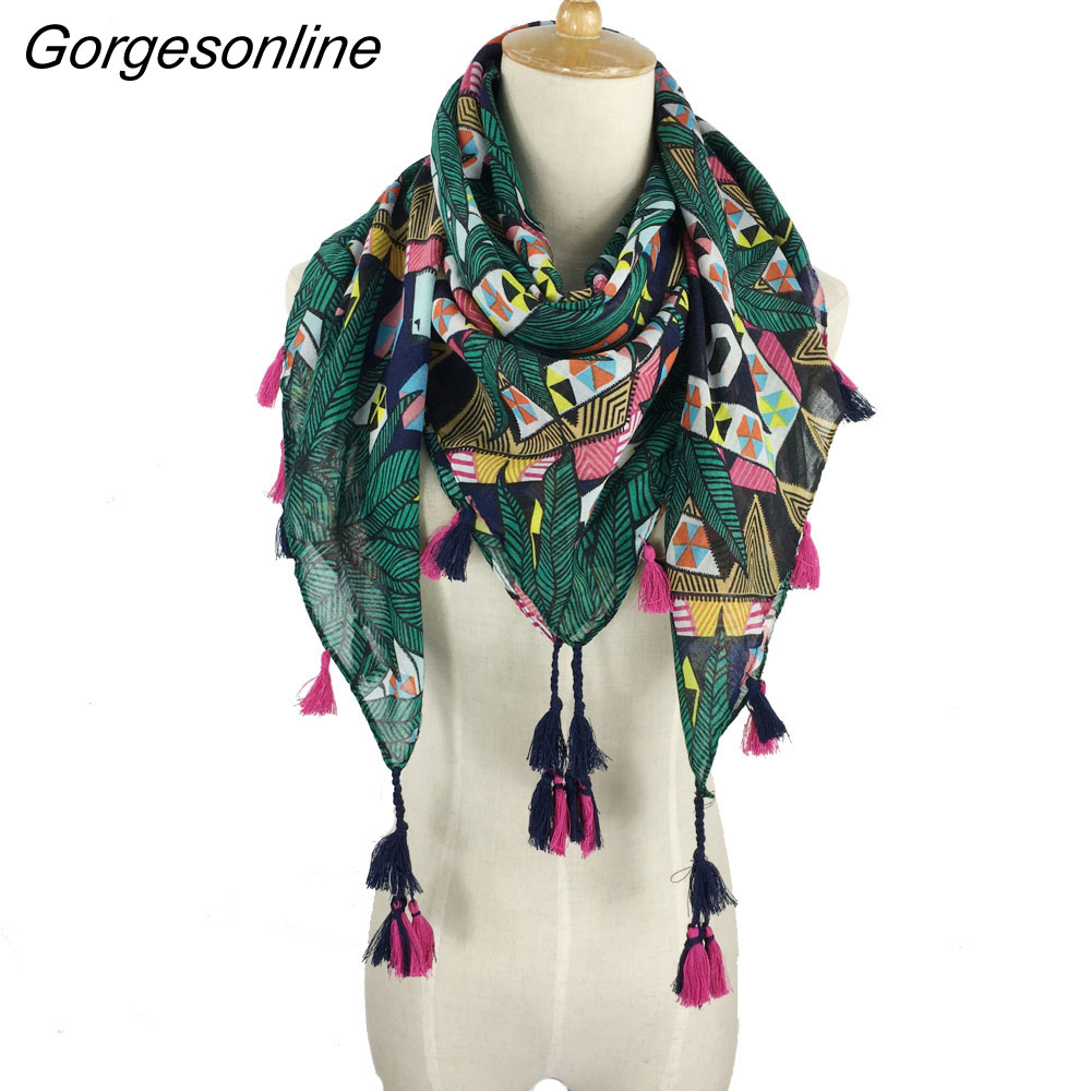 Wholesale fashion spring   wraps   square tassel star chain printed hijab shawl pretty colorful pom pom   scarf