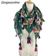 Wholesale fashion spring wraps square tassel star chain prin