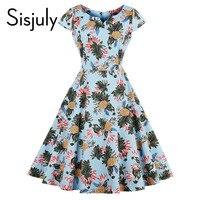 Sisjuly Vintage Autumn Women Dress Cute Floral Plants Print 1950s Style A Line Party Elegant Dress