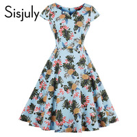 Sisjuly vintage autumn women dress cute floral plants print 1950s style a-line party elegant dress 2017 vintage women dresses