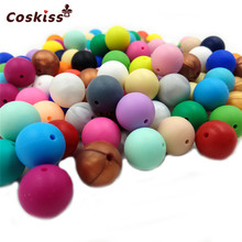 10pc Natural Silicone Beads Round 15MM Chew Nursing Beads Charm Necklace Pendant BPA Free Baby Silicone Teething Teether Toys(China)