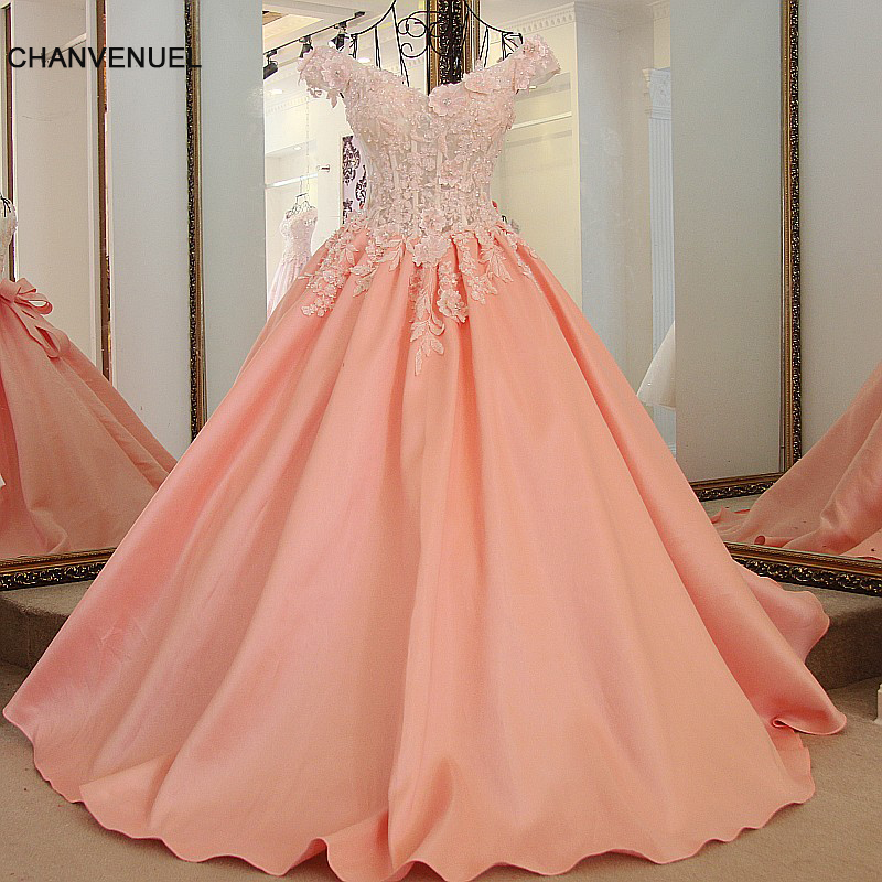 LS65411 pink beaded evening gown satin ball gown luxury appliques off the shoulder corset back robe soiree longue femme 2018