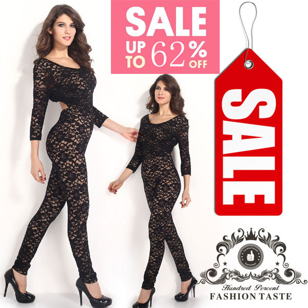 44c0d0ca91 Fitness jumpsuit female coverall Long Sleeve Vintage Lady Black Lace Nude  Illusion Key-Hole Back women jumpsuits and rompers