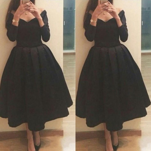 7a03d50d958a Ball Gown Black Tea Length Off The Shoulder Long Sleeve Prom Dresses For  Formal Party 2017 New