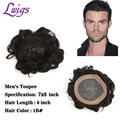 Lwigs men's toupee 7x8 inch lace remy human hair wigs men's hair replacement black color thin skin invisible knots mens toupee