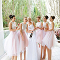 Short Bridesmaid Dresses Light Pink Appliques Prom Gowns Cheap Knee Length Bridesmaid Dress 2016 robe demoiselle d'honneur