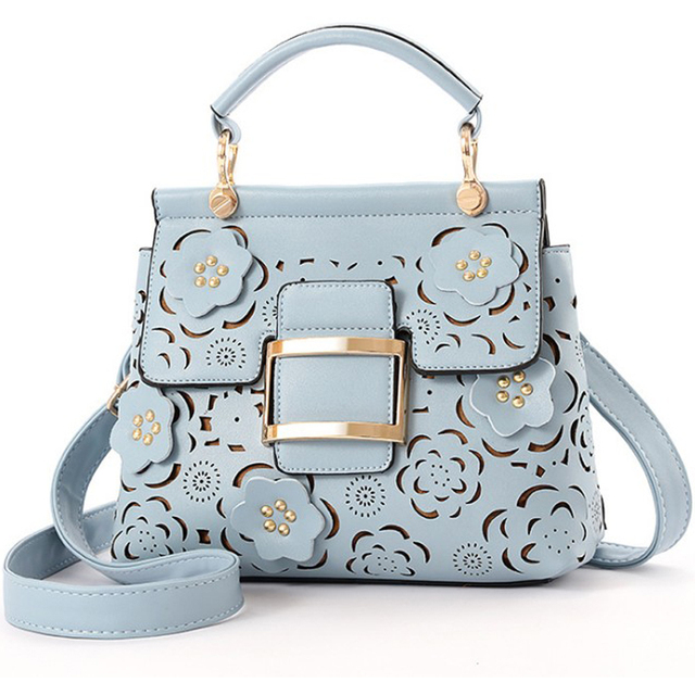ladies hand bags Flower Hollow Out Women shoulder Bag blue pink Leather  handbags women messenger bags black Clutch Purse